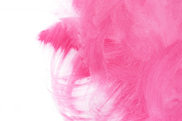 Pink textured background, smeared with brush strokes on white background.