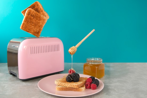 A pink toaster oven with leaping slices of fried bread. breakfast with honey and berries