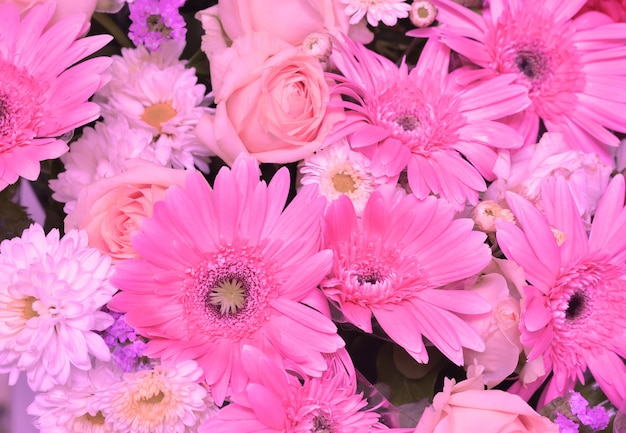 Pink tone of variety flowers, gerbera, lily, roses, chrysanthemum nature background.