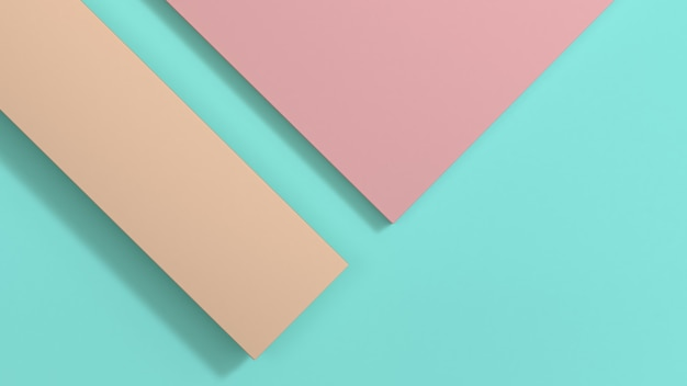 Pink top and brown left on green space minimal geometric
