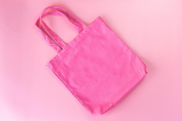 Pink tote bag canvas fabric, cloth shopping sack mockup,eco concept.