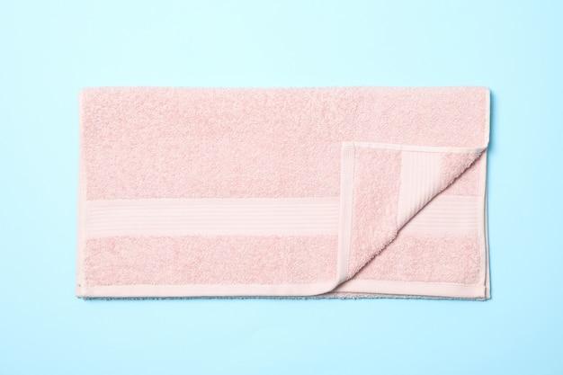 ピンクのタオル、ブルー、上面図、クローズアップ