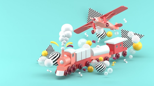 Pink toy train and plane among colorful balls on blue. 3d render.