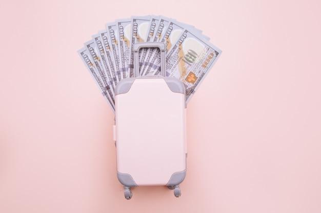 ピンクの旅行かばんと紙幣