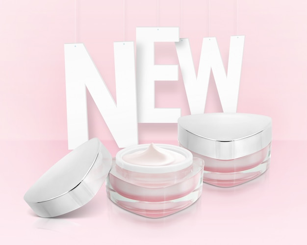 Pink triangle cosmetic jars with new inscription