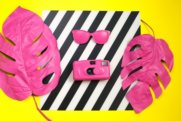 Pink tropical palm leaf of monstera sunglasses and camera