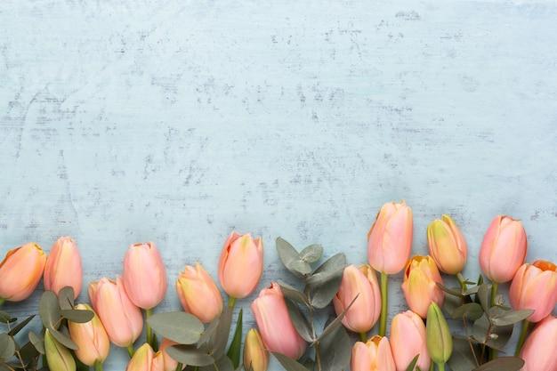Розовый тюльпан на винтажной бетонной поверхности