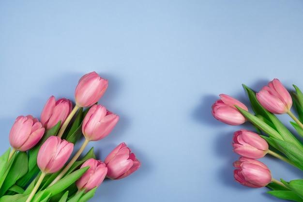 Розовые тюльпаны цветы на синем фоне. карта на день матери, 8 марта, счастливой пасхи, дня святого валентина, дня рождения. жду весны. открытка. плоская планировка, вид сверху, копирование пространства для текста