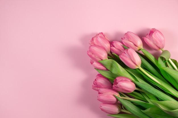 Розовые тюльпаны цветы на розовом фоне. карта на день матери, 8 марта, счастливой пасхи, дня святого валентина, дня рождения. жду весны. открытка. плоская планировка, вид сверху, копирование пространства для текста