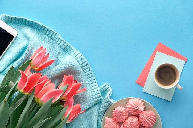 Pink tulips on mint colored cotton sweater and greeting cards