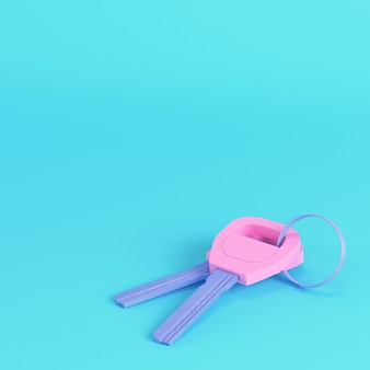 Pink two keys on keyring on bright blue background in pastel colors. minimalism concept. 3d render