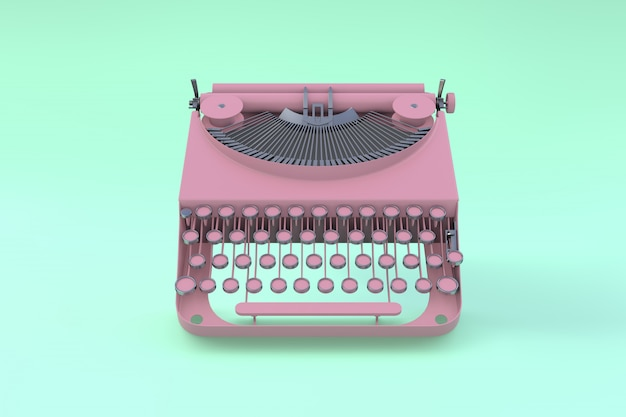 Pink typewriter floating on a green pastel background. minimal concept.