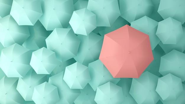 Pink umbrella on the of many light green umbrellas. 3d illustration.