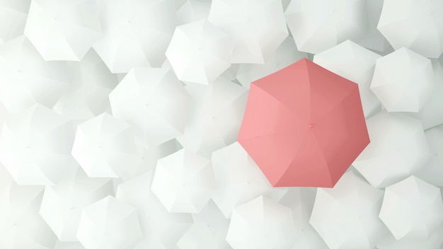 Pink umbrella on the of many white umbrellas. 3d illustration.