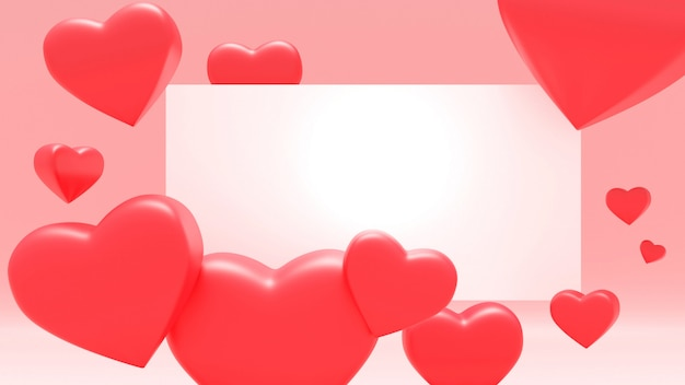 Pink valentin background with red color hearts. holiday greeting card,poster, banner vector illustration - 3d rendering