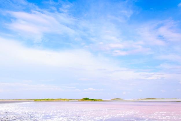 Розовое очень соленое озеро на юге украины