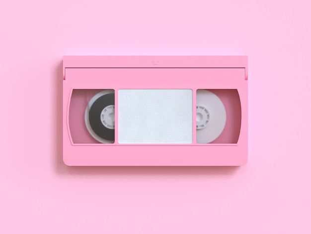 Pink video tape cassette 3d rendering minimal style