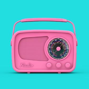 파란색 배경에 이중톤 스타일의 핑크 빈티지 라디오. 3d 렌더링