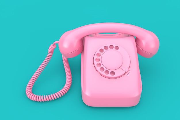 파란색 배경 3d 렌더링에 핑크 빈티지 스타일 로타리 전화