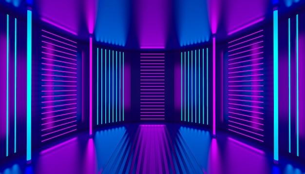 핑크 바이올렛 블루 네온 룸 추상적인 배경입니다. 자외선 연단 장식 빈 무대. 빛나는 벽 패널. 나이트 클럽 내부입니다. 3d 그림입니다.