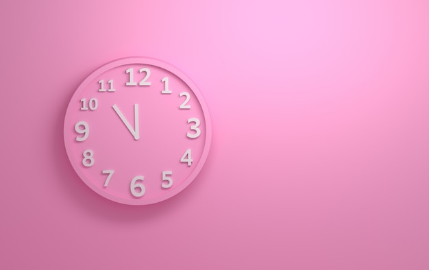 Pink wall clock with white numbers on the background of pink wall.