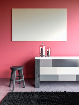Pink wall interior mock up with chair dresser carpet concrete floor d render