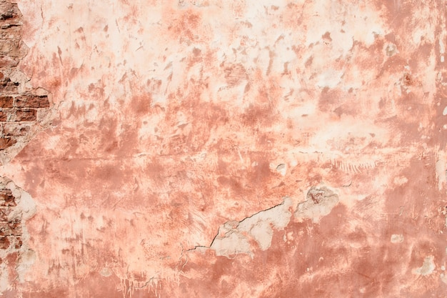 Pink wall of plaster and brick, background, texture.
