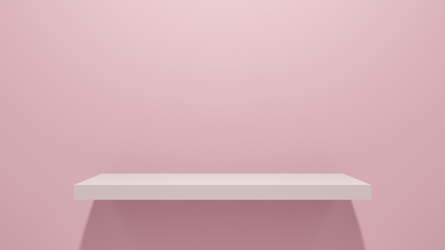 Pink wall shelf for product presentation.