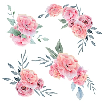 Pink watercolor floral compositions