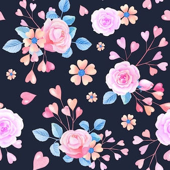 ピンクの水彩画のハート、黒の背景にバラ。抽象的な花とシームレスなパターン。