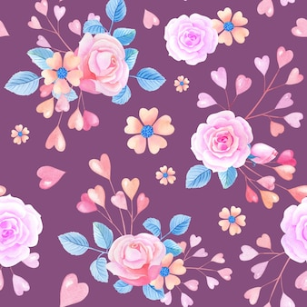 Pink watercolor roses, hearts on lilac background.seamless pattern with abstract flowers.