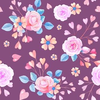 ピンクの水彩バラ、ライラックの背景にハート。抽象的な花とシームレスなパターン。