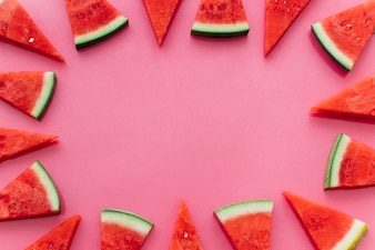 Pink watermelon background with copyspace