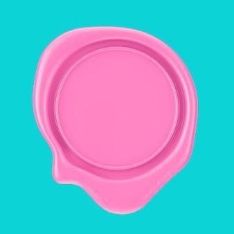 파란색 배경에 이중톤 스타일의 디자인을 위한 빈 공간이 있는 핑크색 왁스 인감. 3d 렌더링