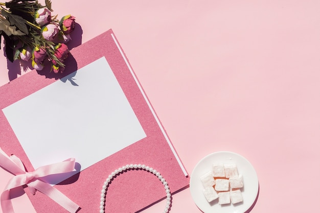 Pink wedding arrangement with copy space
