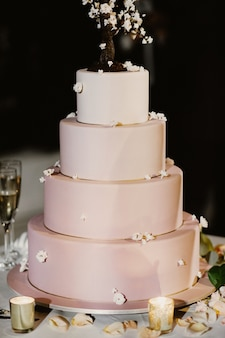 Pink wedding cake decorated with candles and rose petals