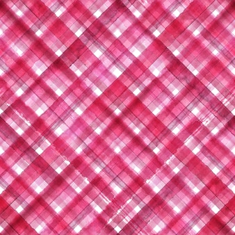 Pink and white abstract geometric diagonal plaid seamless pattern. watercolor hand drawn pink and white trendy background.