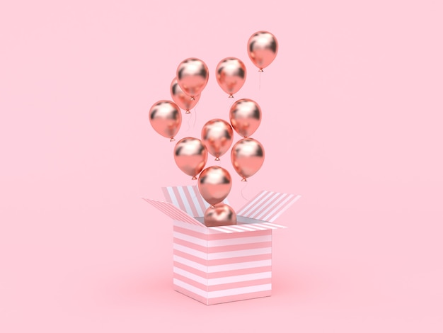 Pink white box open rose gold metallic balloon floating minimal pink