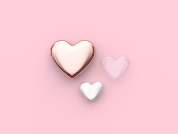 Pink white clear heart valentine 3d rendering