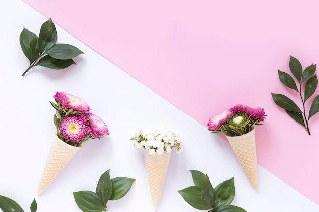 Pink and white flowers in waffle ice cream cone on dual surface