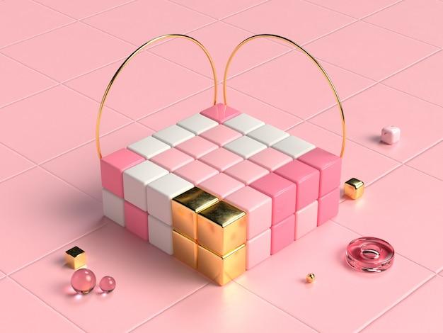 ピンクホワイトゴールドの正方形の幾何学的形状の3 dレンダリング