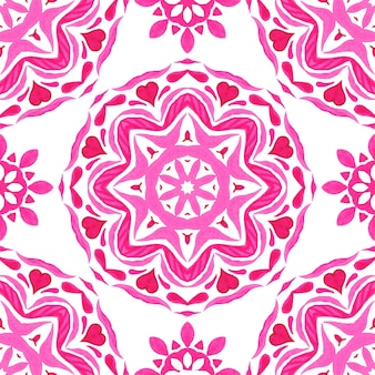 Pink and white hand drawn round mandala tile seamless ornamental watercolor paint pattern