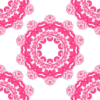 Pink and white hand drawn tile seamless ornamental watercolor paint pattern.