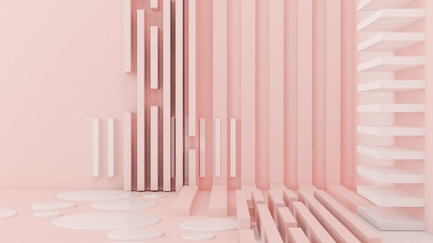 ピンクホワイトライトの背景、スタジオ、台座。 3dイラスト、3dレンダリング。