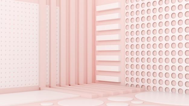 ピンクの白い光の背景スタジオと台座の3dイラスト