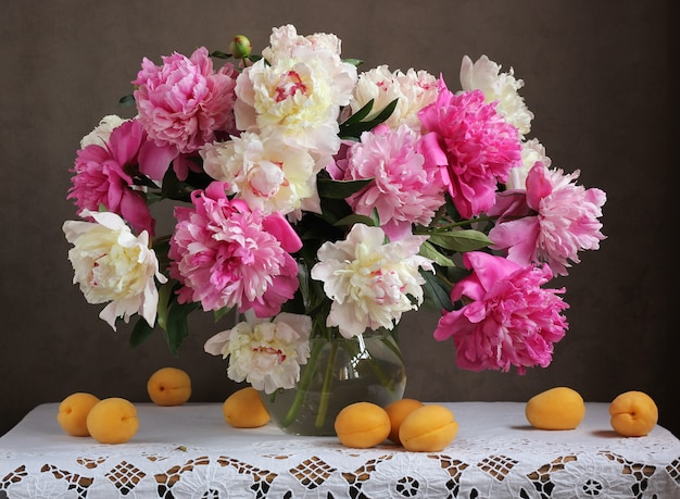 Pink and white peonies.