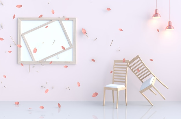 Pink-white room background with blow pink leaves, branch, lamp, chair.