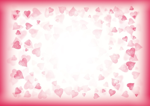Pink and white valentine abstract festive gradient horizontal background. bokeh effect pattern texture with hearts.  space for text.
