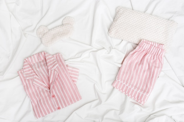 Pink women pajama with stripes