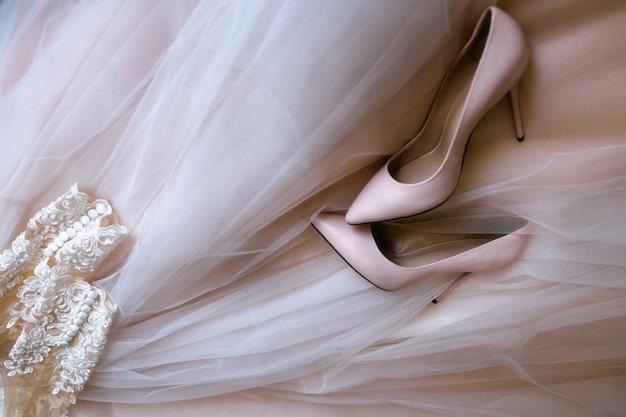 Pink women's wedding shoes